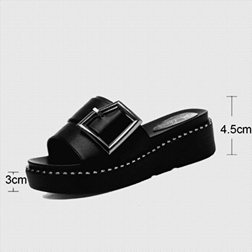 Chanclas Esponja Mujeres Salvaje Gruesa Blanco Torta Ropa Sandals Nueva Coreano Chuanlan Fuera Sandalias Negro Zapatilla Suela Verano De Moda IZqx70Eq
