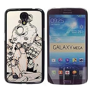rígido protector delgado Shell Prima Delgada Casa Carcasa Funda Case Bandera Cover Armor para Samsung Galaxy Mega 6.3 I9200 SGH-i527 / Metal Futuristic Sketch/ STRONG