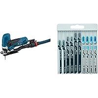 Bosch Professional Stichsäge GST 90 E + Bosch Professional 10tlg. Stichsägenblätter Set Basic (Metall und Holz, Zubehör für Stichsägen mit T-Schaftaufnahme)