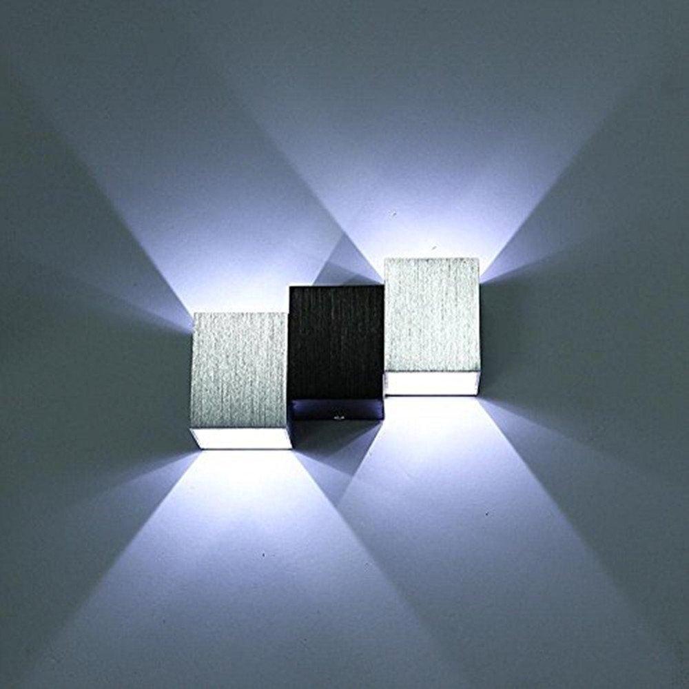 Lightess 6W LED Wandleuchte Innen Modern Wandlampe Flurlampe Silber Wandbeleuchtung Up and Down Warmweiß aus Aluminium [Energieklasse A+]