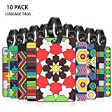 Cool Luggage Tag, MerryNine Personalized Bright Color Mosaic Pattern Durable Travel ID Holder for Suitcase Sports Bags, Set of 10 (10 Pack)
