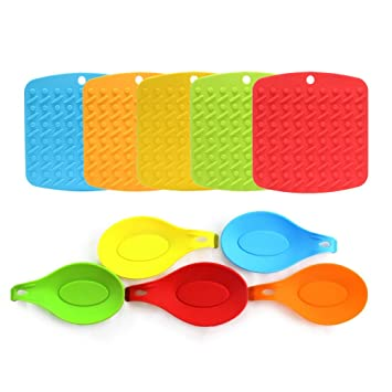Amazon.com | Umiwe Silicone Trivet Mat and Spoon Rest Multipurpose ...