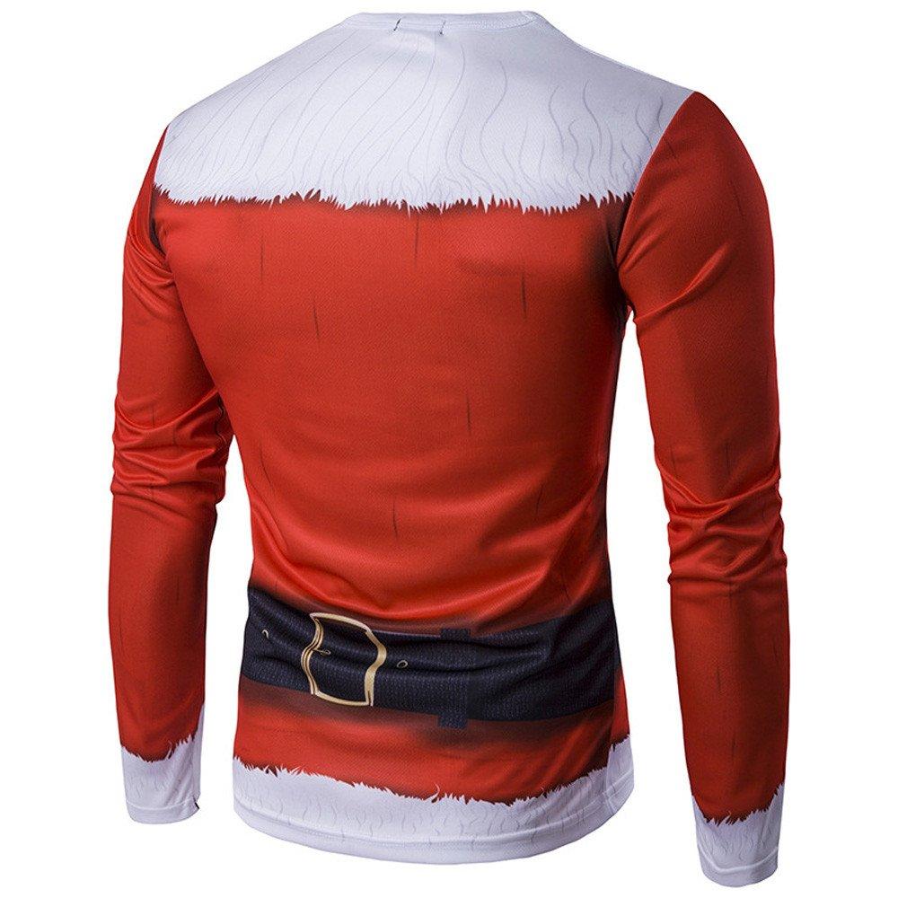 02d6140783ef FRAUIT Herren Weihnachten Xmas Printing Pullover Weihnachtsmann verkleiden  Sich Hemd Herbst Winter M ä nner ...