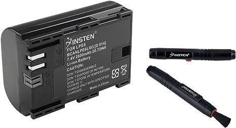 Insten Compatible con Canon LP-E6 LPE6 2800 mAh 7,4 V batería EOS 5d Mark II + Negro Kit de bolígrafo Limpiador de Lentes de cámara: Amazon.es: Electrónica