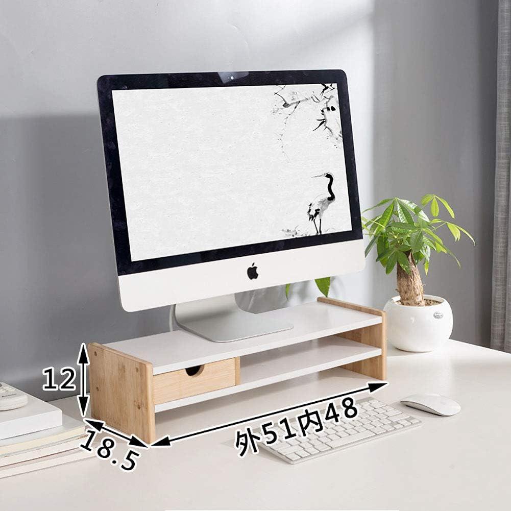 Ajustable Organizador de escritorio con cajón Madera soporte pantalla, Ordenador elevador de monitor, Con espacio de almacenamiento teclado Monitor de pc premium y soporte del ordenador portátil-C: Amazon.es: Hogar