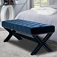 Iconic Home Buzz Modern Contemporary X-Leg Button Tufted Navy Blue Velvet Bench