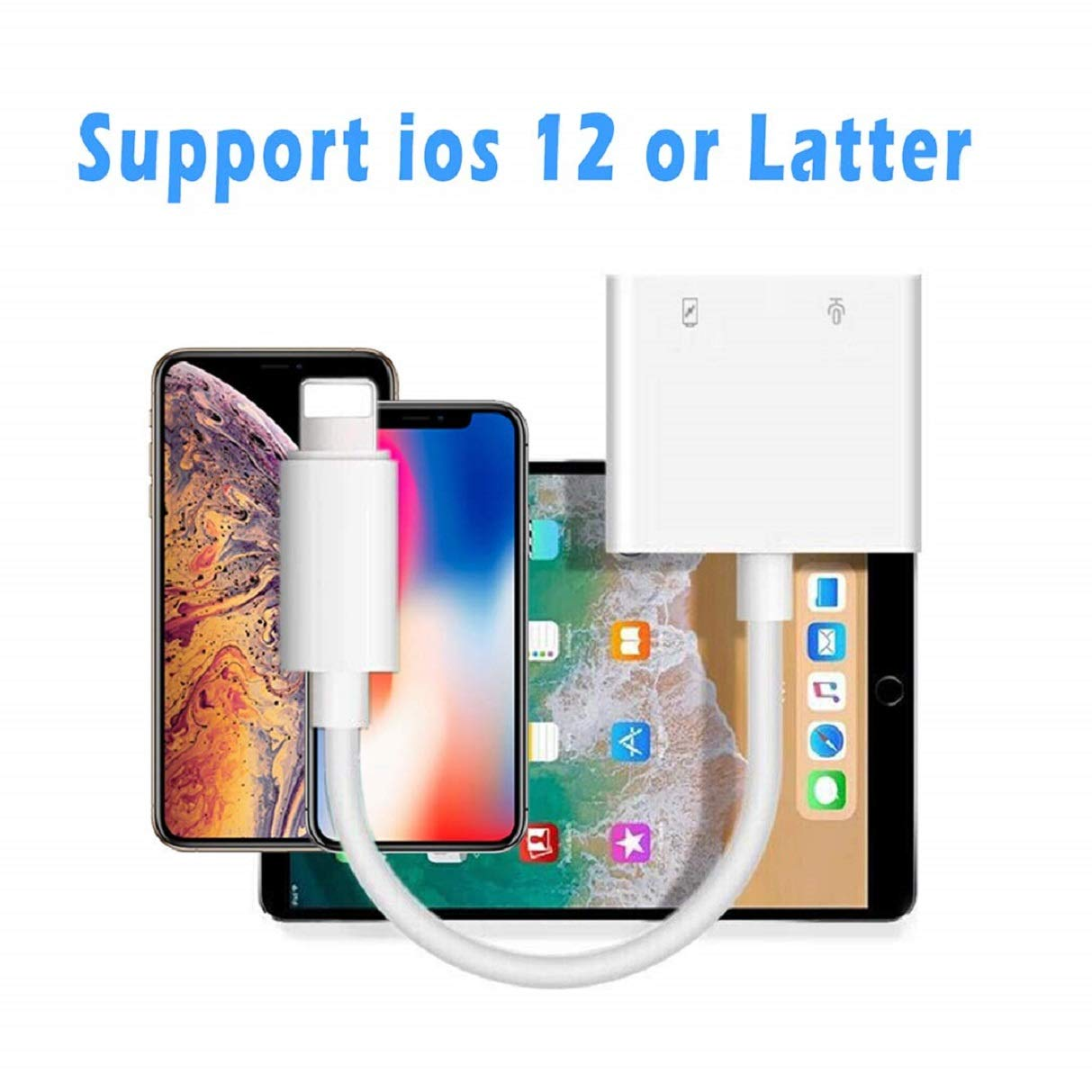 for iPhone Dongle Splitter 3.5 mm Headphone Jack Adapter Charger for iPhone 8//8 Plus// 7//7 Plus//X//10//XS//XS Max//XR Earphone Adaptor and Listen to Music 3.5 mm Aux Audio and Charger Adapter Converter
