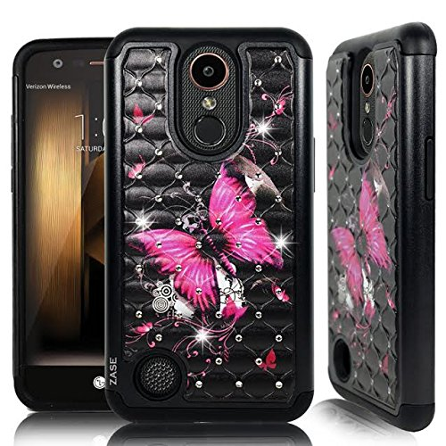 LG K20 V Case, LG K20 PLUS, LG Harmony, LG Grace LTE Hybrid Dual Layer Protection Jewel Rhinestone [Shock Resistant Defender] Hard Shell Crystal Bling Cover by Zase (Diamond Hot Pink Butterfly Flower) (Pink Cover Flowers)