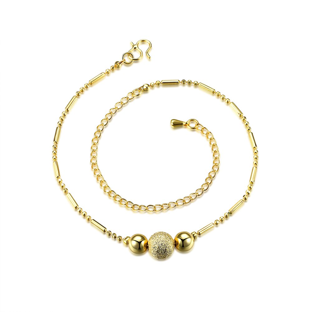 BLOOMCHARM Beads Ball Drop Shape Link Anklets Bracelet Foot Chain Jewelry, Birthday Gifts for Women Girls