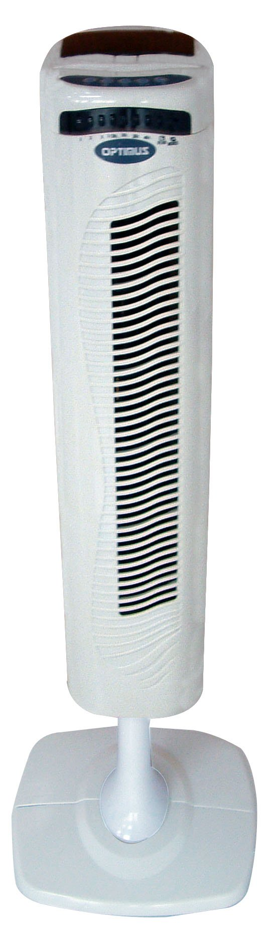 Optimus F-7336 40-Inch Pedestal Tower Fan with Remote Control and LED, White