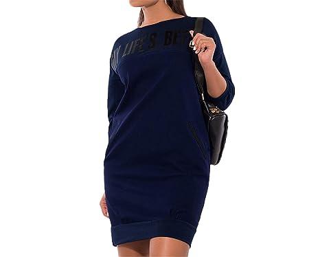 Letter Print New Women Dresses Warm Plus Size Casual Elegant Blue Women Clothing Women's Clothing