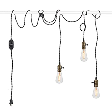 Vintage Pendant Light Kit Cord with Dimming Switch and Triple E26/E27 Industrial Light Socket Lamp Holder 25FT Twisted Black Cloth Bulb Cord Plug in Hanging Light Fixture