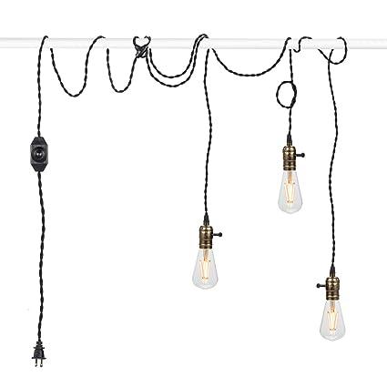 Pendant light kit Rope Vintage Pendant Light Kit Cord With Dimming Switch And Triple E26e27 Industrial Light Socket Amazoncom Vintage Pendant Light Kit Cord With Dimming Switch And Triple E26