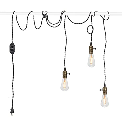 Vintage Pendant Light Kit Cord With Dimming Switch And Triple E26 E27 Industrial Light Socket Lamp Holder 25ft Twisted Black Cloth Bulb Cord Plug In