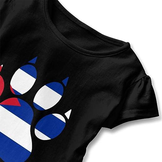 Short-Sleeve Cuba Dog Paw T-Shirts for Kids Ruffled Tunic Tops with Falbala 2-6T
