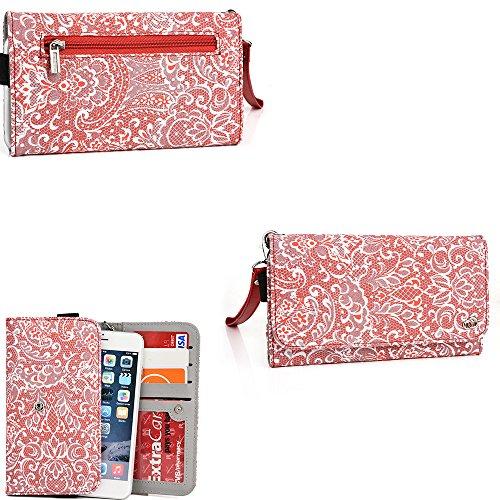 Fashion wallet case (Red Rouge) multi purpose organizer ( ID holder, coin purse, phone pocket) fits: BLU Life 8 , BLU Life One M, BLU Life Pure XL, BLU Vivo IV, BLU Win HD -  KroO, ESXLP205 BEAUT NV 21