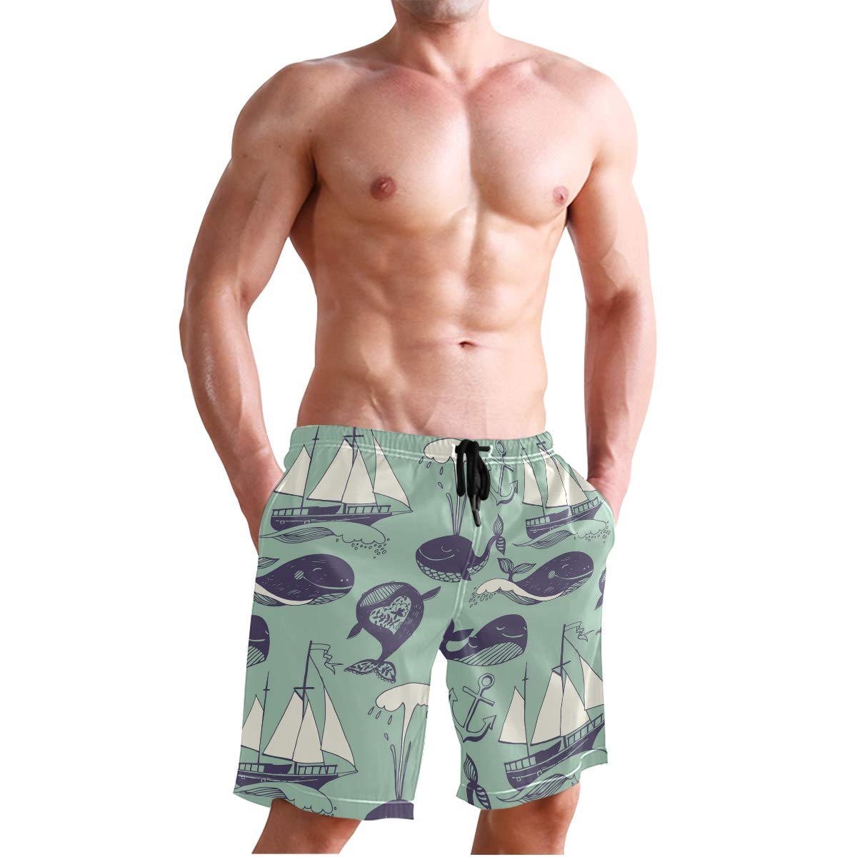 JERECY Mens Swim Trunks Vintage Dolphin Sailboat Anchor Quick Dry Board Shorts with Drawstring and Pockets