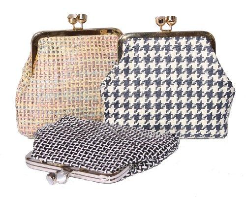 Estilo Vintage sandalias planas con sujeción en no tejido bolsas con cierre de Metal y borde esmaltada Navy Dog tooth
