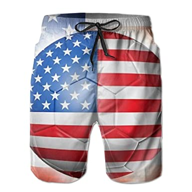 d954d455d2 HXXUAN Men's Beach Shorts Swim Trunks American Flag with Soccer Ball Board  Shorts with Pockets at Amazon Men's Clothing store: