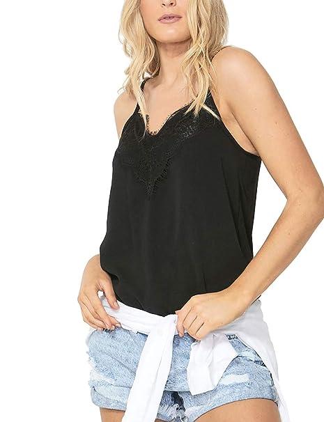 038400f076f40c Women's V Neck Cami Tank Top Spaghetti Straps Lace Trim Camisole Sleeveless  Tops (Black,