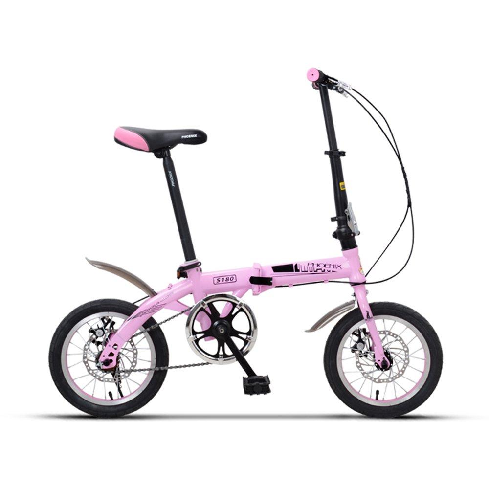 YANFEI 子ども用自転車 折りたたみ自転車サドル635ミリメートル14インチ6歳の少女少年学生 子供用ギフト B07DZD1C6J Pink -14 inch Pink -14 inch