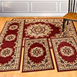 United Weavers of America United Weavers Dallas Collection Floral Kerman 4-Piece Rug Set, Burgundy