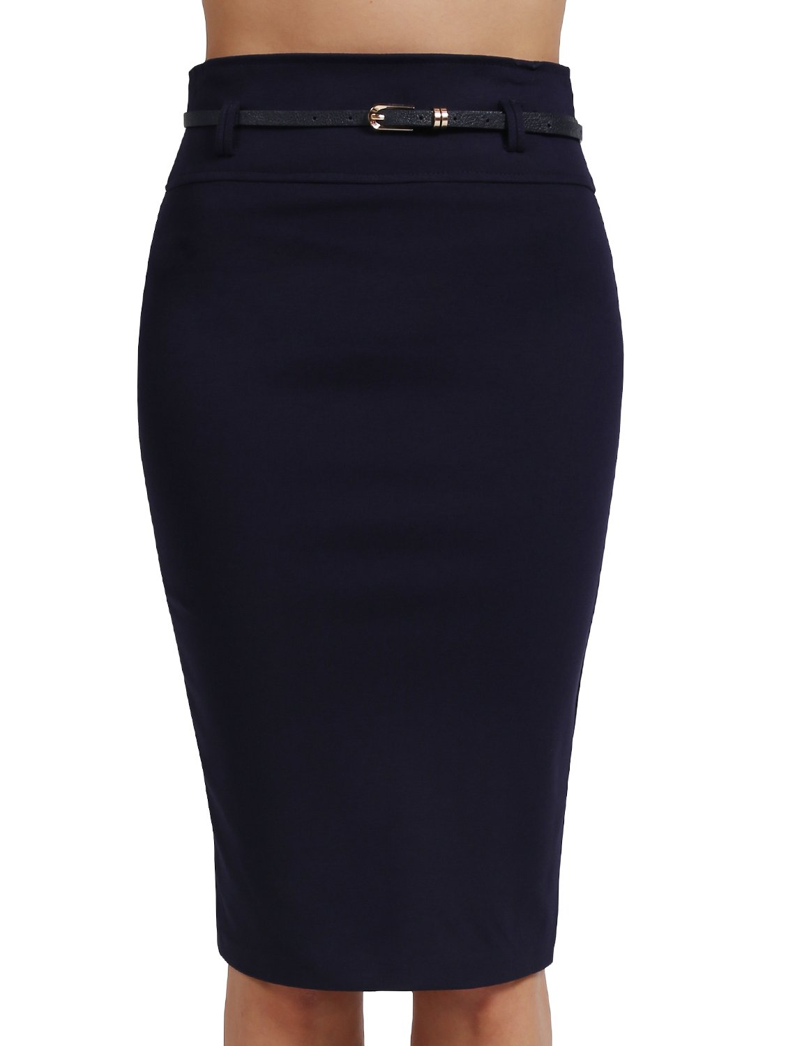 J. LOVNY Womens Simple Knee Length Work Office Pencil Skirts with Belt