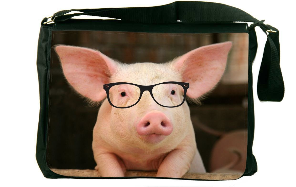 Hipster Rikki Knight Percy The Pigster Messenger School Bag Pig in Sty Design mbcp-cond44685