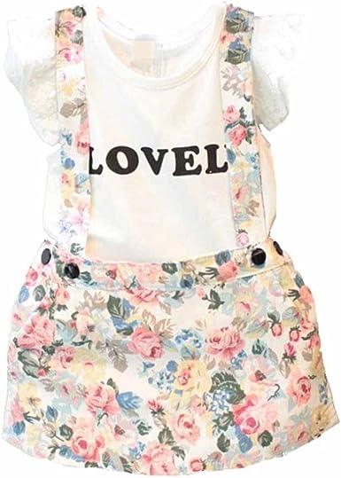 Vestido niña, Switchali Bebé Niña Verano moda blusa chaleco floral camisa + falda cortos de Correa Conjunto de ropa de fiesta para chica casual linda blusa de muchacha en oferta (130 (5~6años)):