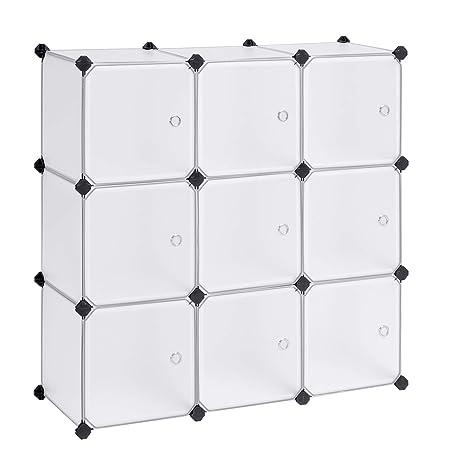Songmics Armario Modular Con 9 Cubos Montaje En Bricolaje Armario De Almacenamiento De Plástico Con Puertas Estable Instalación Sencilla Lpc116ws