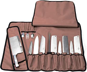 Rollo de cuchillos de chef, bolsa de tela Oxford, versátil, para guardar herramientas, cubertería o cuchillos, con correa para el hombro, color chocolate, tamaño Unrolled: 19H x 26W: Amazon.es: Deportes y aire