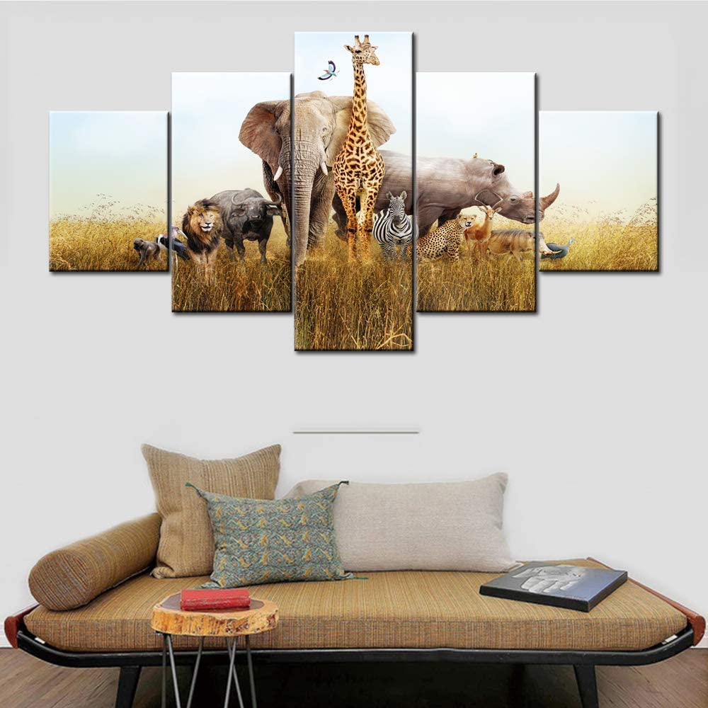 "5 Panel African Wild Giraffe Elephant Lion Cheetah Together Funny Painting on Canvas Wall Decor Art Animals Picture for Living Room Landscape Sunset Artwork Framed and Ready to Hang - 60""W x 32""H"