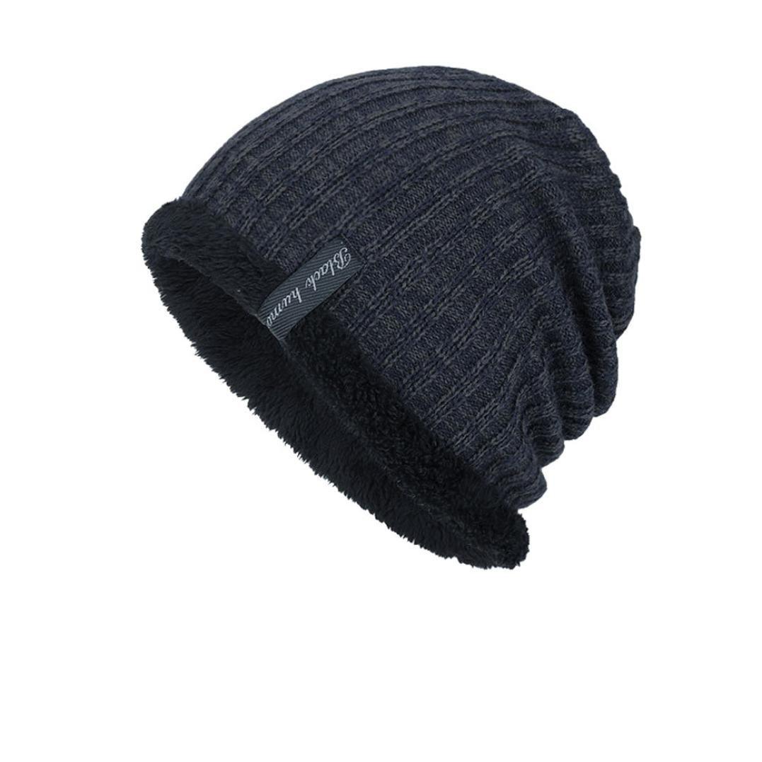 Hmlai Fashion Hat,Unisex Winter Beanie Hat Warm Snow Knit Hats Windproof Circle Scarf Slouchy Skull Cap (Navy)