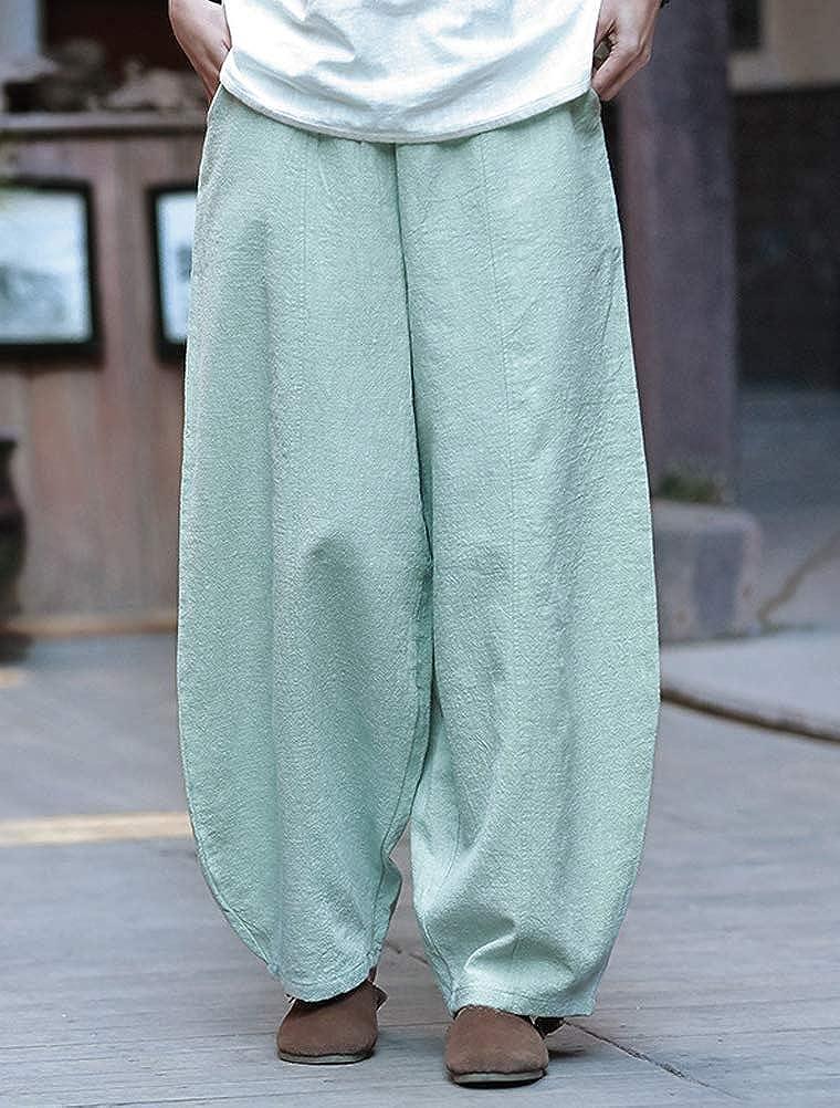 Mallimoda Donna Pantaloni Ampio Palazzo Pants Vita Alta Elastici Harem Pantalone Larghi
