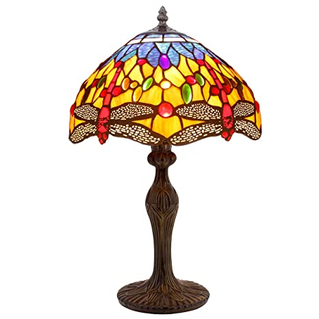 cf536f58ad02 Tiffany Lamps Orange Blue Stained Glass and Crystal Bead Dragonfly Style  Table Lamp Height 18 Inch