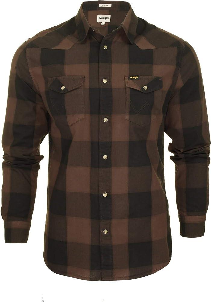 Wrangler - Camisa Casual - Cuadros - Clásico - Manga Larga - para Hombre Marrón marrón XL: Amazon.es: Ropa y accesorios