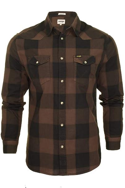 Wrangler - Camisa Casual - Cuadros - Clásico - Manga Larga - para Hombre Marrón marrón