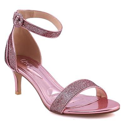 """7b81d790809 Unze Women """"CORA"""" Fashion Kitten Heel Open Toe Classic Ankle Strap Shimmer  Closed Heel"""