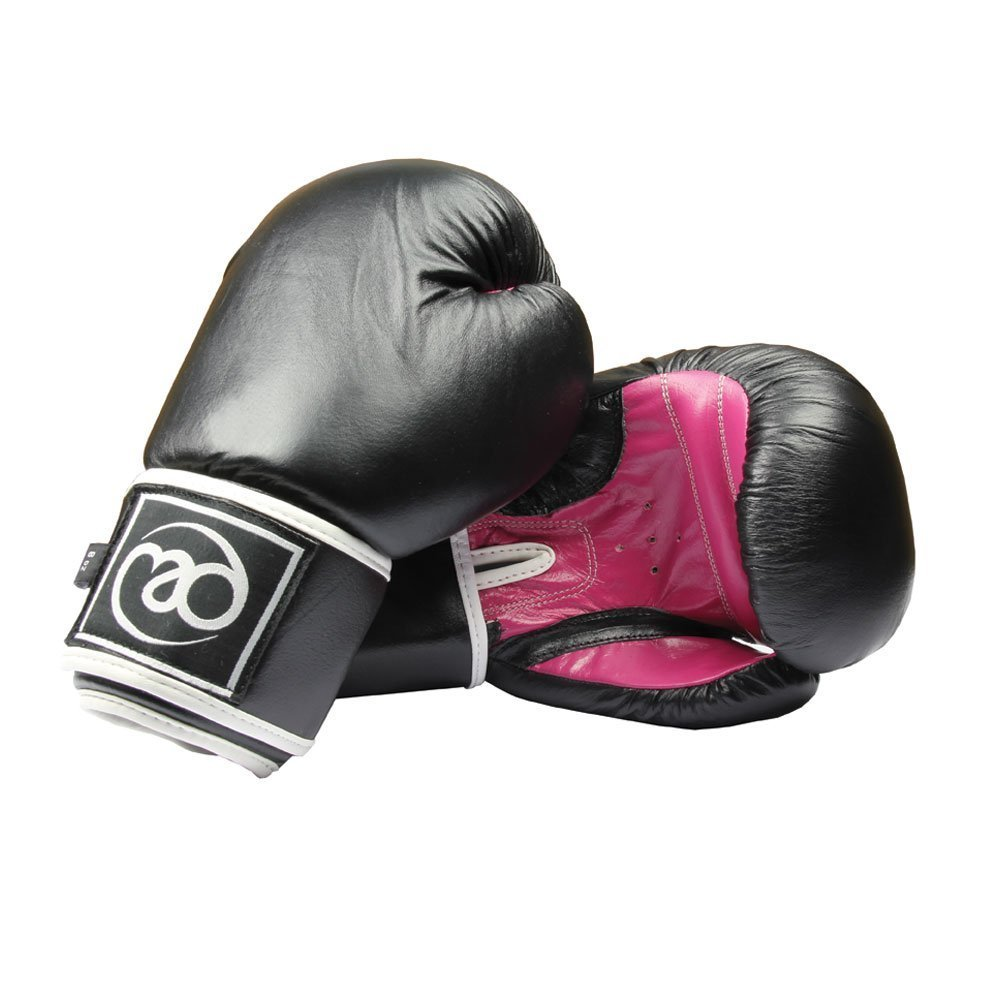 Boxing-Mad Women's Fit Leather Pro 8 Oz Sparring Gloves - Black/Red by Boxing-Mad BWSPARL08BP