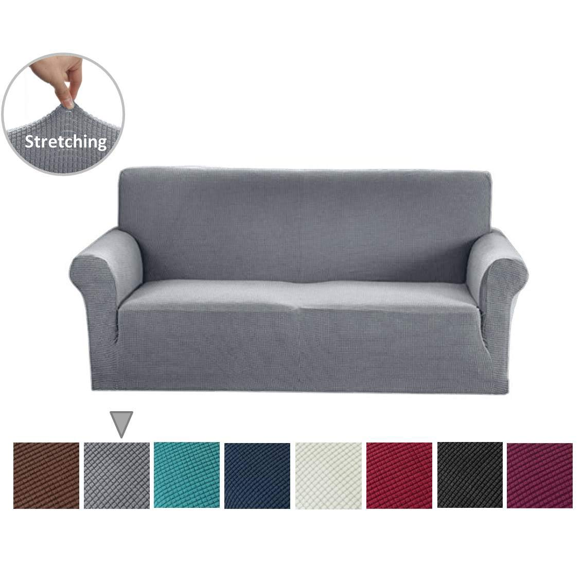 Argstar Jacquard Sofa Covers for Loveseat, Elastic Fabric Slip Cover for Couch and Love Seat, Light Gray by Argstar