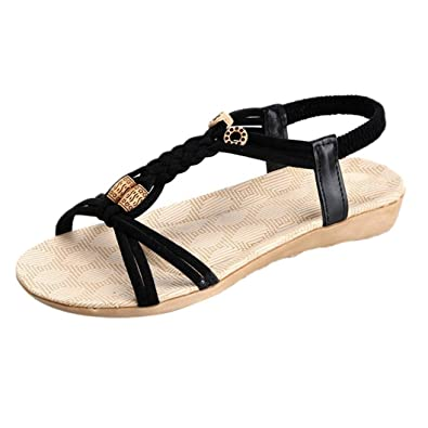 Sandals Franterd Women Flat Sandals Bohemia Bandage Leisure Lady Peep-Toe Outdoor Beach Shoes