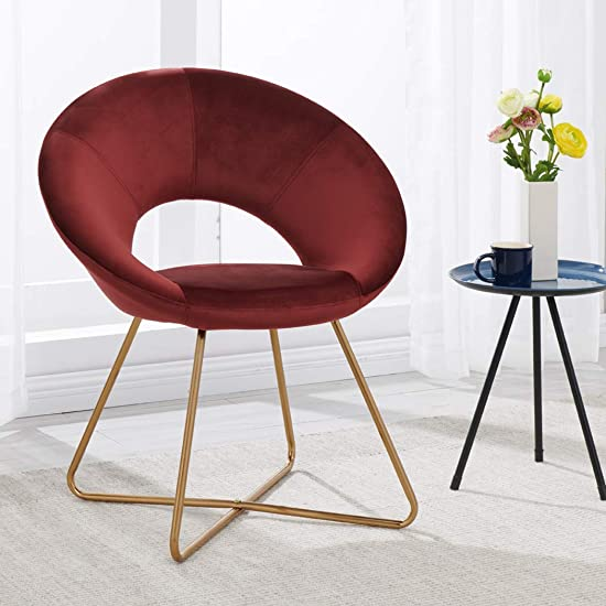 Duhome Modern Velvet Accent Chairs Upholstered Vanity Chairs Make-up Stool Home Office Guest Reception Chair Arm Leisure Chairs Dining Chair