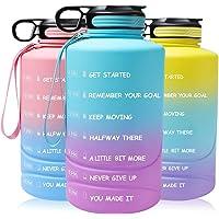 Motiverende waterfles met tijdmarkeringen en stro, 2,2 liter halve galon grote sportwaterkruik met handvat, BPA-vrije…