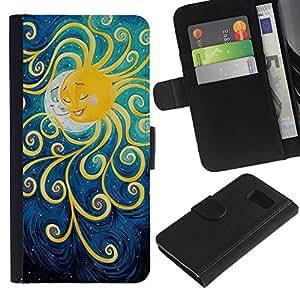 EuroTech - Samsung Galaxy S6 SM-G920 - Sun Painting Moon Kids Sleep Night - Cuero PU Delgado caso Billetera cubierta Shell Armor Funda Case Cover Wallet Credit Card