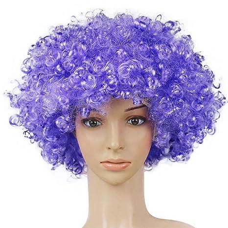 outflower peluca de pelo peluca payaso niño adulto Masquerade partido pelo Halloween Navidad accesorios LILA