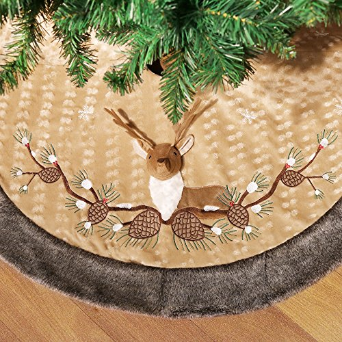 Valery Madelyn 48 Inch Woodland Velvet Christmas Tree Skirt, 3D Reindeer and Embroidery Design with Plush Trim Border,Themed with Christmas Ornament(Not Included)