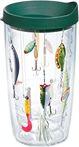 Tervis 1139085 Fishing Lures Tumbler with Wrap and Hunter Green Lid 16oz, Clear