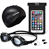 Swimming Pools Kit - TURATA Summer Sports Kit Swimming Complete Bundle, Best for Aquatics, Swimming, Diving [1 Swimming Goggles, 1 Swimming Cap and 1 Waterproof Case Included]