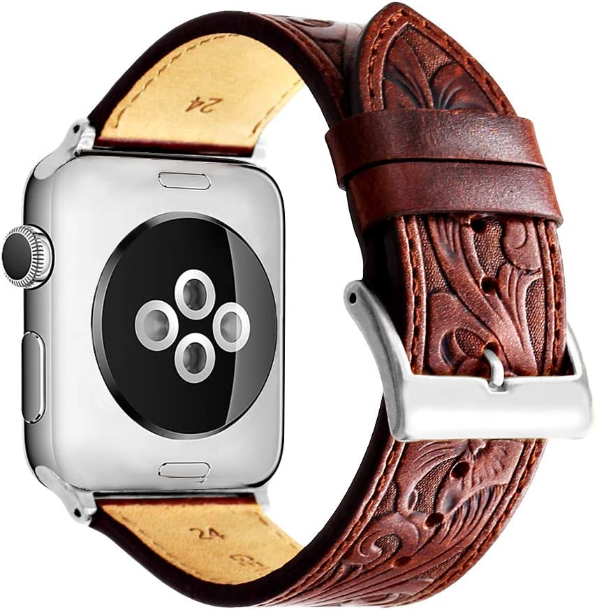 Ezzdo Band For Apple Watch Band 40mm, Leather Carved Handmade Bump Retro Genuine Leather Flower Replacement Strap For Men Women Brown Bracelet For Iwatch 38mm 40mm Series 6/SE/5/4/1 / 2 / 3 (Red Brown 38mm)