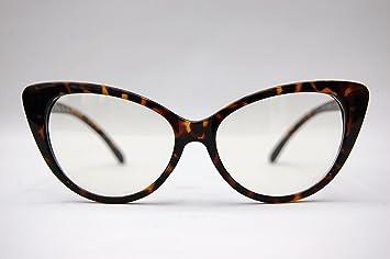 Black Frame Cateye 5VTG 50er/60er Jahre Style Clear Lens Cat Eye Sonnenbrille Retro Rockabilly Gläser DoKn5